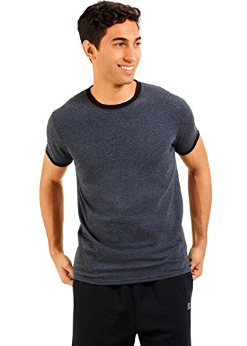 Heather Mens Ringer T-shirt (Russell Athletic Men's Essential Cotton Ringer T-Shirt, Heather/Black, Large)