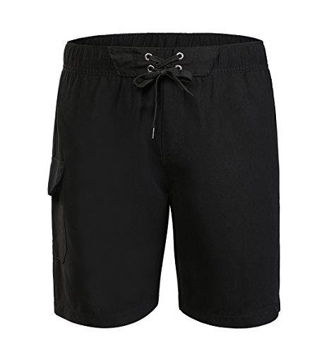 BELLOO Men's Swimsuits Beach Shorts with Cargo Pocket, Black, - Mens Black Swimsuit