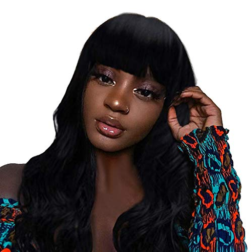 Fashion Long Dark Black Wavy Curly Neat Bangs Women's Lady's Hair Wig Wigs -