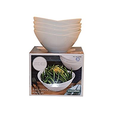 Over and Back - Sides - Porcelain All Purpose Bowls - Set of 4