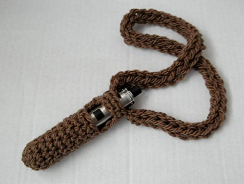 Chunky Durable Crochet Vape pen Lanyard Holder Cord Sleeve Carry Case - Brown