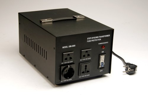 SIM 5000 - 5000 Watt Voltage Power Converter Step Up/Down Transformer. Converts 110V to 220V or 220V to 110V for Worldwide Use. by Simran