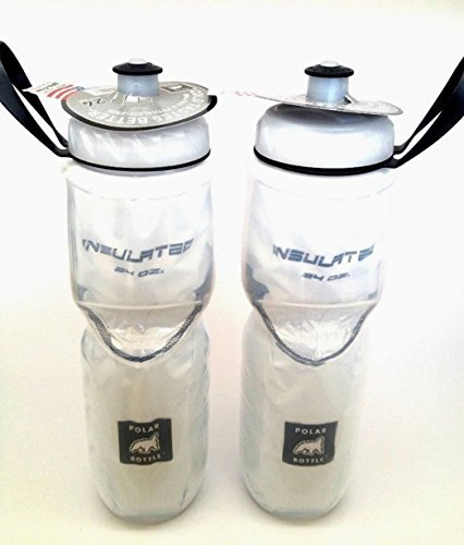 Polar Insulated White 24oz 2-Pack Water Bottle Made in USA