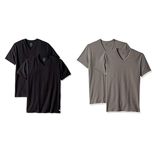 Calvin Klein Men's Undershirts Cotton Stretch 2 Pack V Neck Tshirts, Black, X-Large and  Grey Sky, XL ()