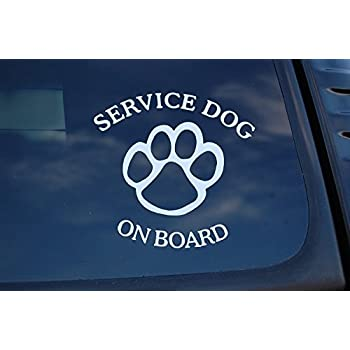 Service dog on board sticker vinyl decal k9 caution car pick size color v463 4 x 4 white