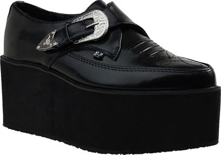 T.U.K. Shoes Womens Stack Pointed Creeper Black Western Buckle Black