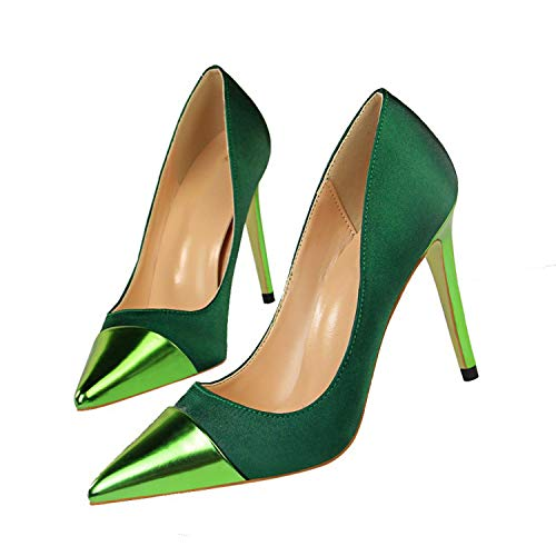 - Spring Wedding Party Women High Heels Shoes Woman Pumps Patchwork Female Sexy Shoes,Green,8.5