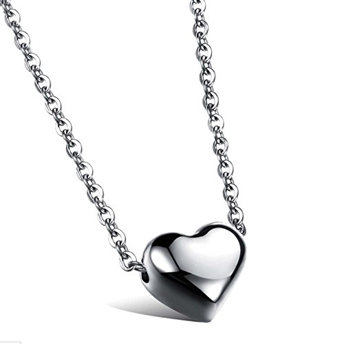 OurJewellery Stainless Steel Womens Small Heart Pendant Love Collarbone Necklace Romantic (Silver)