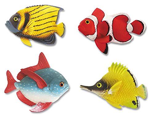 Katerina Prestige–Set of 4Magnets Tropical Fish Figurine, -