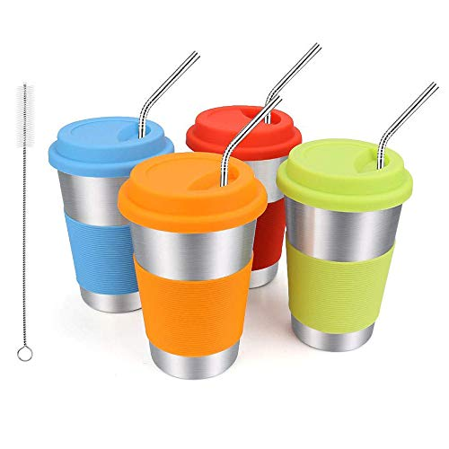 Rommeka Stainless Steel Tumbler, Unbreakable 16oz Kids Stainless Steel Cups with Lids and Straws Eco-Friendly Drinking Cups for Adult, Toddler and Children (4 Pack)