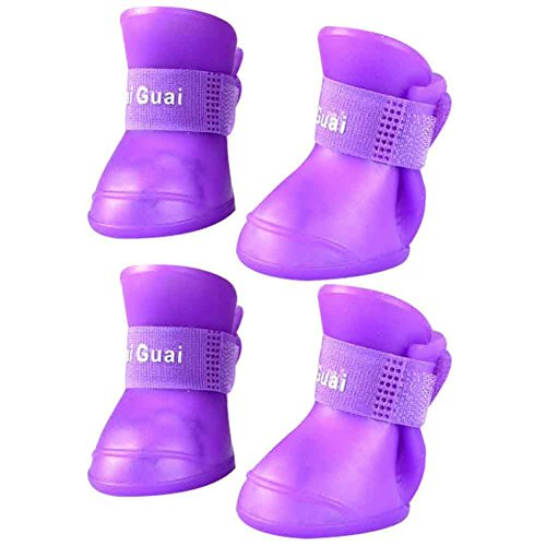 BUYITNOW Dog Rain Boots for Small Dog Waterproof Anti Slip Soft Soles Pet Shoes 4pcs