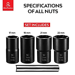 SharCreatives Metric Twist Socket Set 5 pieces Lug Nut Extractor and Bolt Extractor Twist Socket Set with Metal Rod for Removing Tricky, Broken, Stripped or Damaged Lug Nuts and Bolts 1/2 inch drive (Color: Red)