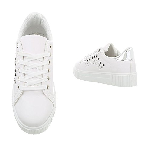 Xf823 40 Espadrilles design Chaussures Sneakers Femme Baskets Mode Blanc Low Plat Ital v0qPq