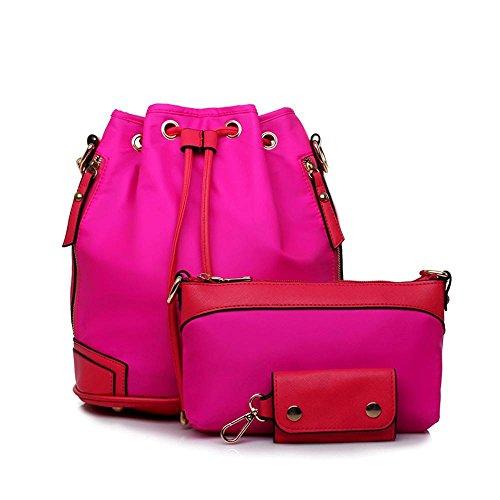 Aoligei Double sac à bandoulière femme sac version coréenne fashion nylon seau sac D