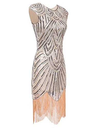 Bulges Women Dress Party Neck Tassel Beige 1920s Sequins O Elegant Sleeve Cap Slim HHadrqw