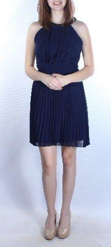 Bee Darlin Junior's Sleeveless Halter Dress, Navy/Gunmetal, 3/4