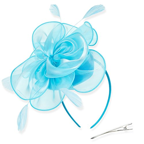 DRESHOW Fascinators Hat Tea Party Headwear Ribbons Feathers on a Headband and a Clip for Girls and (Feather Light Womens Hat)