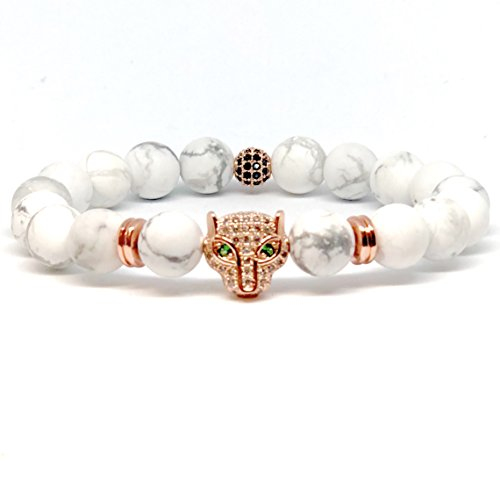 White Gold Panther - Piddro Rose Gold Panther Bracelet (White Turquoise (8mm), 6)