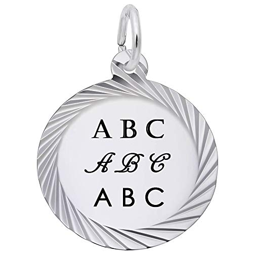 Rembrandt Charms Engravable Sterling Silver 1/2 mm Thick Faceted Frame Disc Charm (17.5 x 17.5 mm)