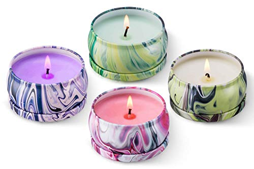 Soy Wax Aromatherapy Scented Candles Gift Set Lavender Vanilla Eucalyptus & Rosemary, Really Strong Fragrance Essential Oils Travel Tin Candles, Use for Relaxation & Stress Relief, Christmas Pack 4 for $<!--$15.59-->