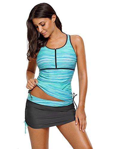 luvamia Women's Two Pieces Print Zip Front Racerback Tankini Set Swimsuits With Skirt Size Medium (US 8-10) (Tankini Swimsuit)