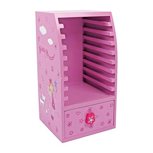 Kindermöbel CD Schrank Beauty Princes, aus farbig lackiertem Holz, für 9 CDs geeignet
