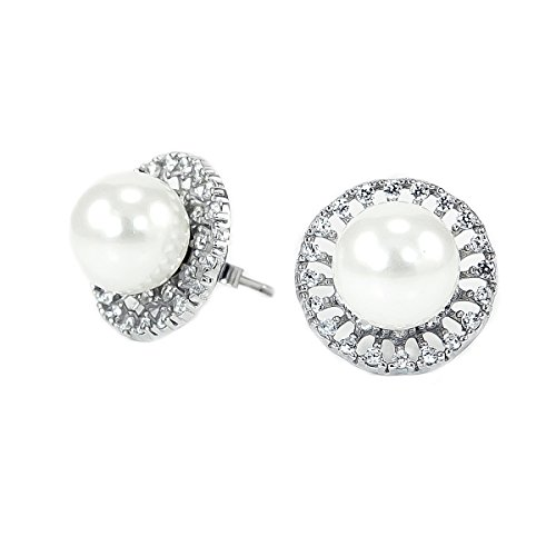 Platinum Plated 925 Sterling Silver Round Cubic Zirconia Freshwater Pearl Round Disc Stud Earrings