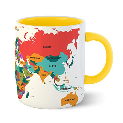 Chiraiyaa Creative World Map – Inner Yellow Printed with Yellow Printed Handle Ceramic Mug Price & Reviews