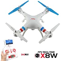 Potensic RC Quadcopter Syma X8W 2.4G 4ch 6 Axis Real Time FPV Drone with Wifi Camera(White)