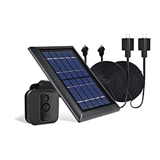 Wasserstein 1-Pack Solar Panel with Internal Battery Bundled with 2-Pack Weatherproof Power Cable Compatible with Blink XT and Blink XT2 (Black)