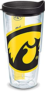 Tervis 1094883 Iowa Hawkeyes Mascot Colossal Tumbler with Wrap and Black Lid 24oz, Clear