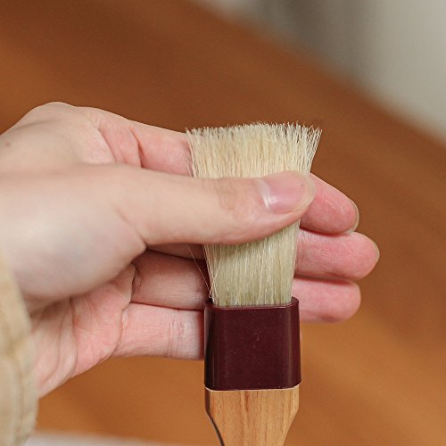 Pastry Brush Natural Bristle Wooden, MSART Basting/Food Brush, with Beech Wood Handle and Rope Hook, Great for Butter, Cookies, Oil, Bread, Frosting. Easy to Clean (1 inch & 1.5 inch set) by MSART (Image #1)