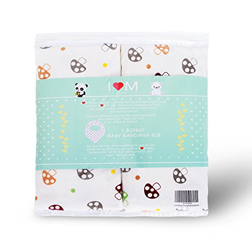 Bassinet Sheets and Baby Bandana Drool Bib – Pack of 2 Crib Covers Measuring 38 x 27 x5 Inches - Made Exclusively of Natural Cotton – Suitable for Boys and Girls – Baby Shower Gifts (Bed Sheets Bandana)