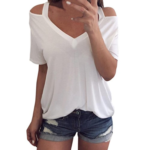 Boomboom Women Summer Blouse, White Ladies Off Shoulder V Neck T-Shirt Short Sleeve Tops Blouse (M, White) ()