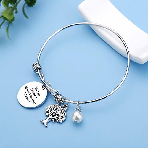 CJ&M Family Tree Bracelet The Love Between Mother and Daughter Is Forever Tree of Life Bracelet Mother Gift Bangle, Christmas Gifts,Mothers Day Gifts