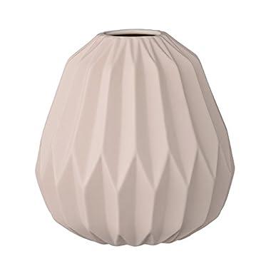 Short Matte Nude Ceramic Fluted Vase