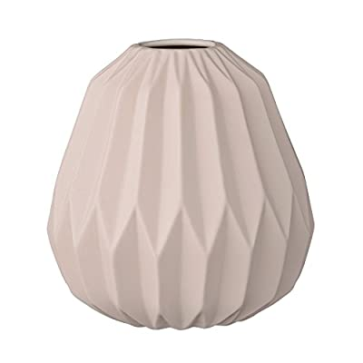 Bloomingville Fluted Ceramic Vase with Matte Nude Finish - Made with ceramic Sealed to hold water Wipe clean with a damp cloth - vases, kitchen-dining-room-decor, kitchen-dining-room - 41cSFu9HzGL. SS400  -