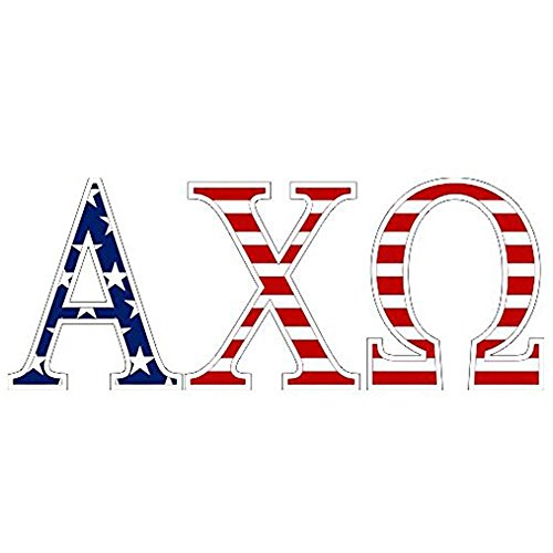 - Alpha Chi Omega American Flag Greek Letter Sticker - 2.5