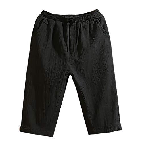 (Goddessvan Women's Casual Elastic Waist Knee Length Curling Comfy Bermuda Shorts with Drawstring Black)