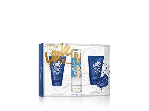 Ed hardy love is eau de toilette spray plus hair and body wash plus after shave balm plus mini 34 ounce