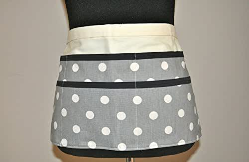 Teacher apron in gray with white polka dots
