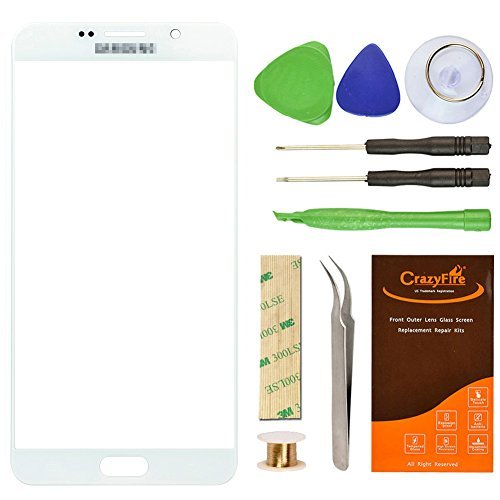 CrazyFire For Samsung Galaxy Note 5 Replacement Screen Lens Glass, Repair Kit for Samsung Galaxy Note5 N9200 N920A N920P N920T N920R N920R4 with Adhesive and Tools (White)