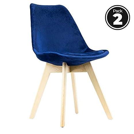 regalosMiguel - Packs Sillas Comedor - Pack 2 Sillas Synk Terciopelo - Azul Medio: Amazon.es: Hogar