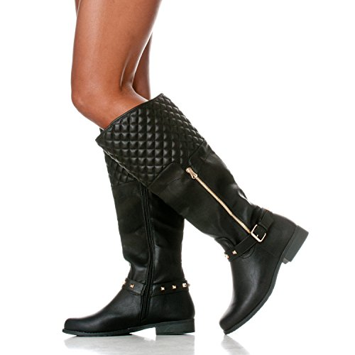 Women's Black Quilted Riding Ava Casual High Heel Riverberry Boots Knee Low 4qdF4g