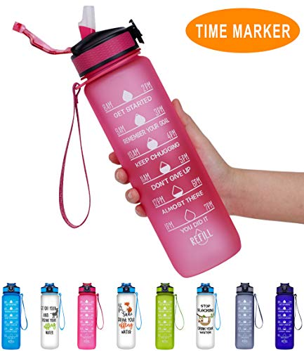 Giotto 32oz Large Leakproof BPA Free Drinking Water Bottle with Time Marker & Straw to Ensure You Drink Enough Water Throughout The Day for Fitness and Outdoor Enthusiasts-Pink (Best Water Bottle With Straw)
