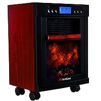 MicroLux ML1500DCH 1500 Watt Rolling Flames Heater Stove Air Purifier - Cherry