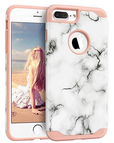 """iPhone 7 Plus Case, Imikokoâ""""¢ Hard Marble Case Hybrid Protective Soft Silicone With Hard PC Plastic White Marble Case Slim Cute Case Cover For iPhone 7 Plus (Rose Gold)"""
