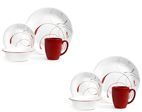 - Corelle Livingware 16-Piece Dinnerware Set, Splendor Coupe (Set of 2 total 32-Pieces)