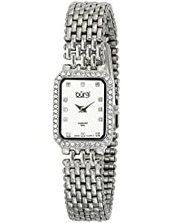 Burgi Womens BUR098SS Crystal Accented Silver Swiss Quartz Watch with Silver Dial and Silver Bracelet