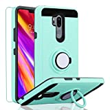 LG G7 Case,LG G7 ThinQ Case, LG G7 2018 Case with HD Screen Protector,Wtiaw 360 Degree Rotating Ring Kickstand [Brushed Metal Texture] Hybrid Dual Layer Defender Case for LG G7-CH Mint